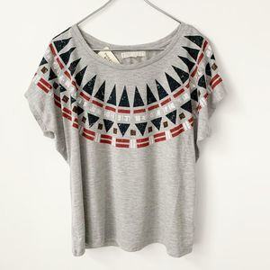 Forever 21 | NWT Tribal Embellished Gray T-shirt